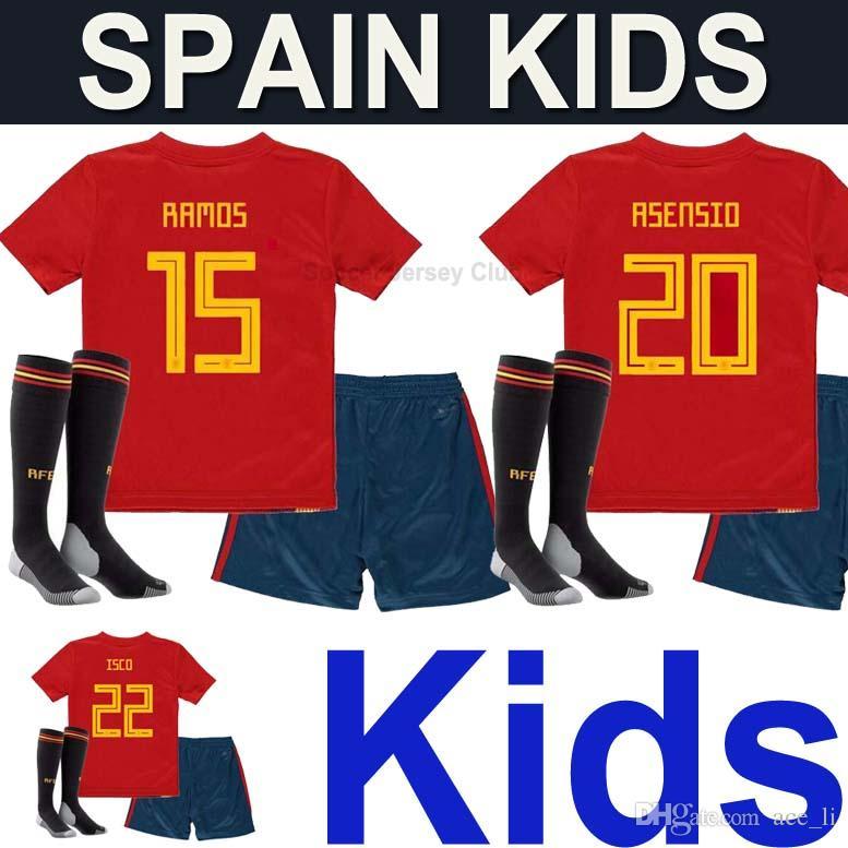 08b271a3398 2019 Spain Kids Kits Soccer Jerseys Uniform With Socks 2018 National Team  World Cup Camisetas Boys RAMOS MORATA ASENSIO ISCO SILVA Football Shirt  From ...
