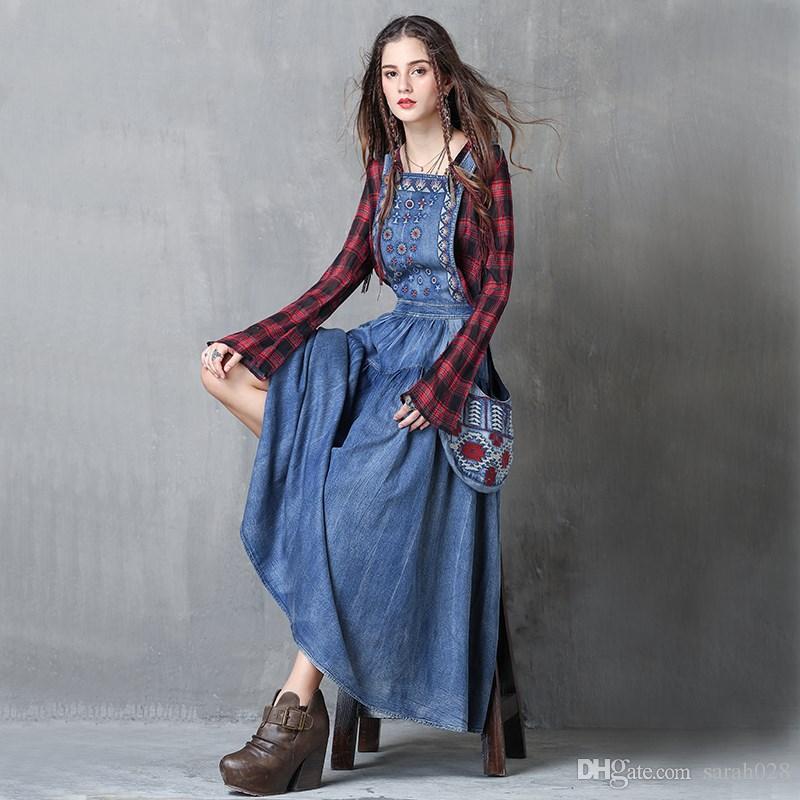 961a0a2f435 2019 Women Dress Boho New Denim Vestidos Flower Embroidery A Line Back  Zipper Swing Hem Overall Maxi Dresses From Sarah028