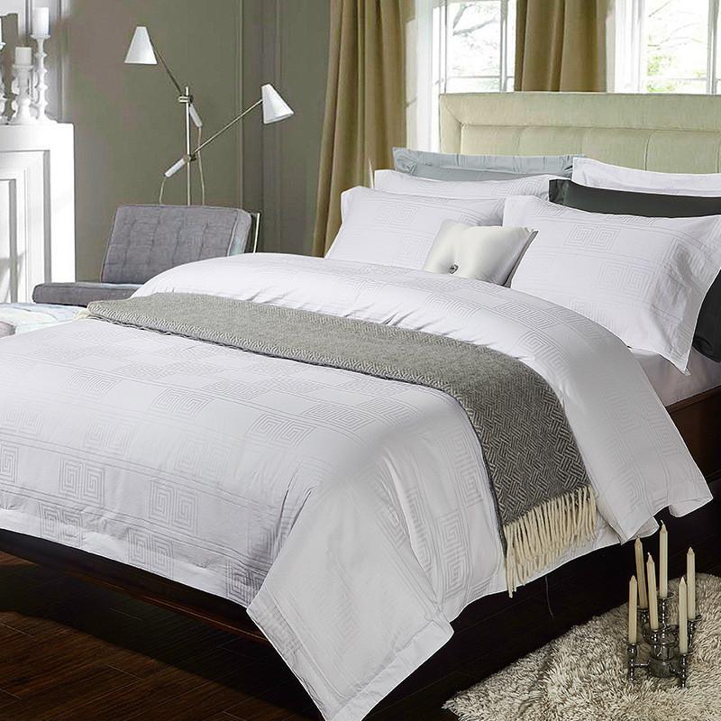 Großhandel 4 Satin Baumwolle Pure White Hotel Luxus Bettwäsche Set