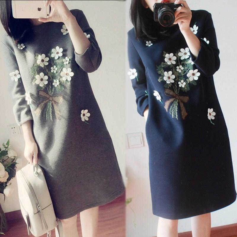 04ab81982f8 2019 Maternity Dress Autumn Winter Pregnancy Clothes For Pregnant Women 3D  Flowers Maternity Clothing Plus Dresses From Orchidor