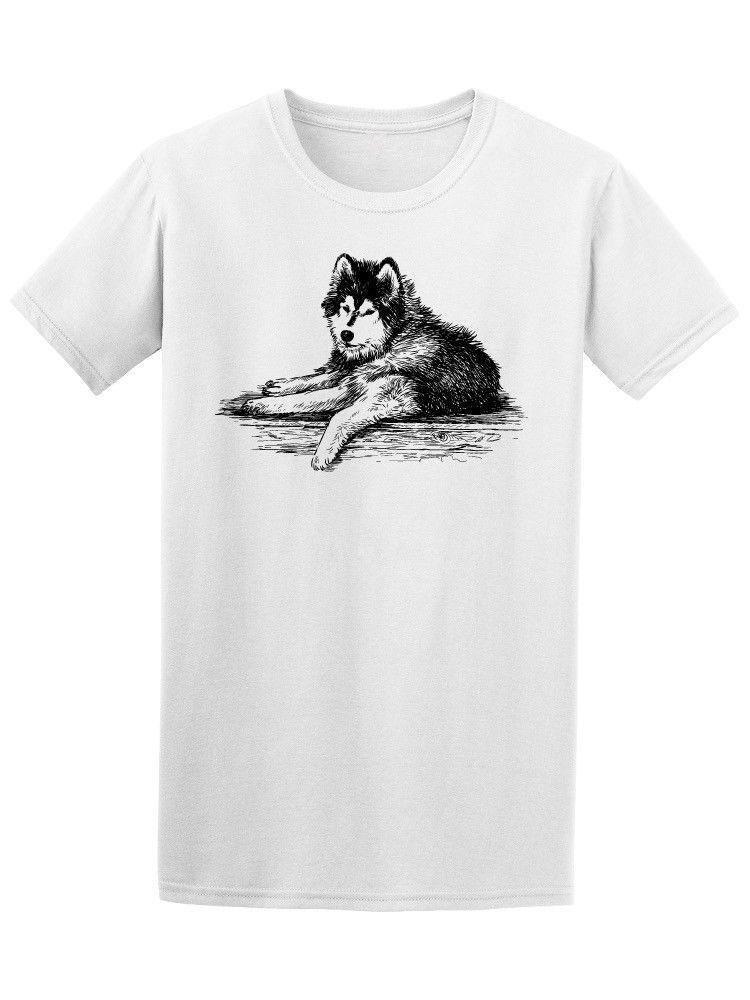 Siberian Husky Sketch Men S Tee New Funny Brand Clothing Top Tee
