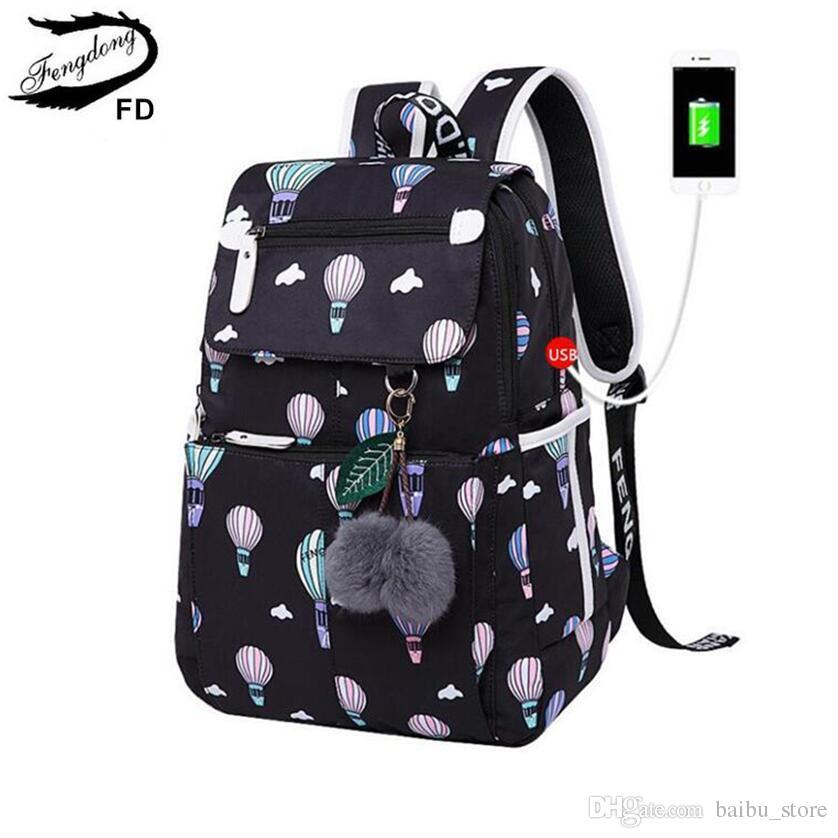 357ffa0a18 ... FengDong Brand Backpack For Girls School Bags Female Cute Small Black Bag  Backpacks For Teenage Girls ...