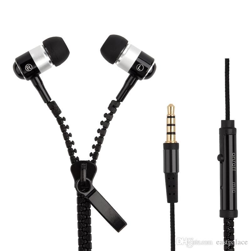 Auriculares con cremallera Auriculares de música estéreo de 3,5 mm Jack Bass Auriculares con micrófono para iPhone 7 6 Plus 5S Samsung S6 S5 Auriculares