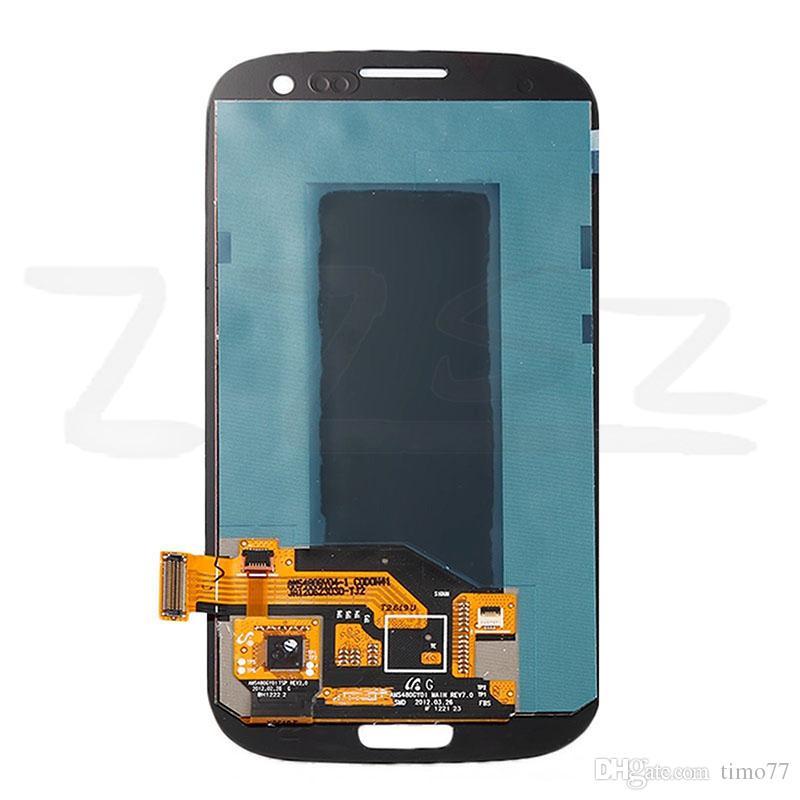 Orijinal Samsung Galaxy S3 SIII i9300 Için LCD Digitizer Ekran Dokunmatik Ekran Tam Meclisi Değiştirme ile çerçeve Ücretsiz Kargo DHL