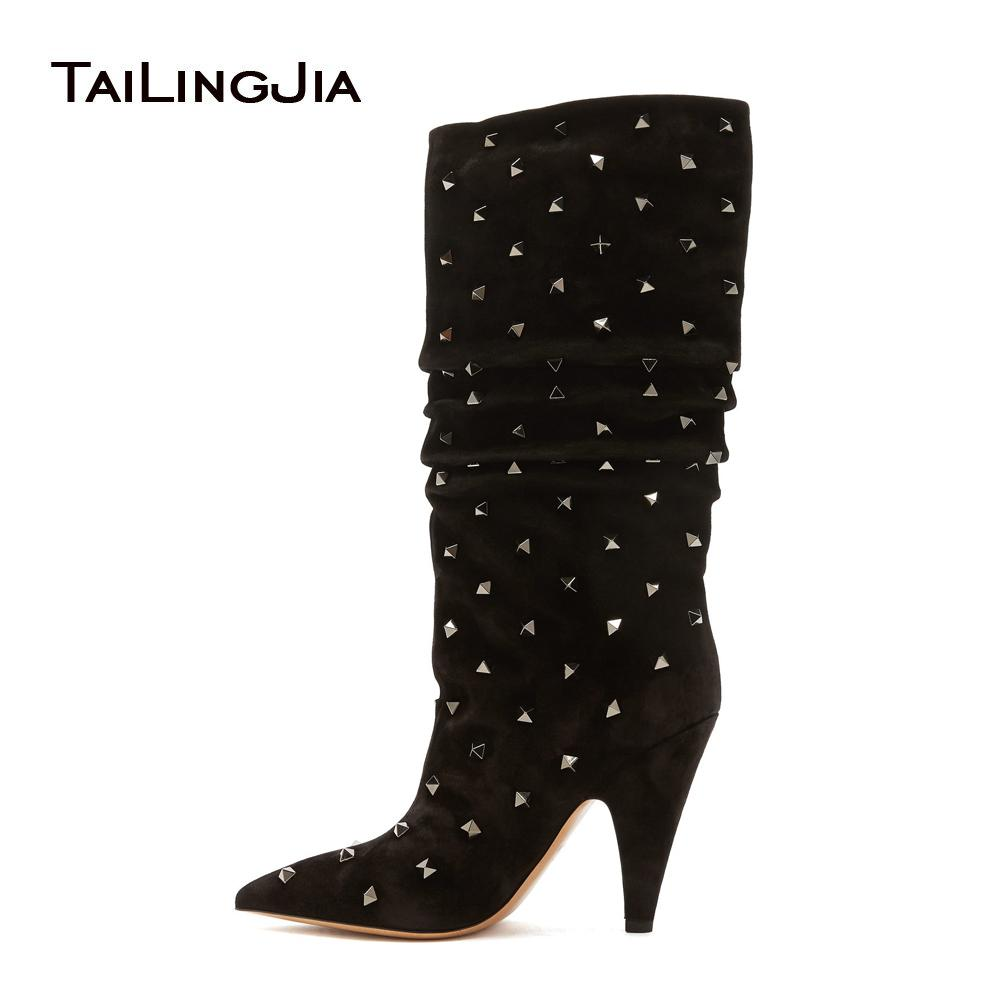 80253291e26d Women Pointed Toe High Heel Studs Knee High Slouch Boots Black Fall Winter  Shoes Studded Ladies Slouchy Heels Large Size 2018 Boots For Women Black  Boots ...