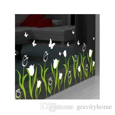 Bedroom living room decoration tulip glass door baseboard wall stickers creative shop window glass window decals