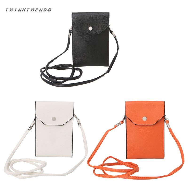 New Fashion Universal Leather Cell Phone Bag Shoulder Pocket Wallet Pouch Case Neck Strap Crossbody Bags Purse