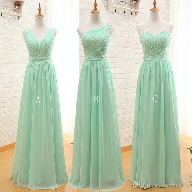 35e126729f32c Satın Al 2017 Uzun Ucuz Nane Yeşil Gelinlik Modelleri Altında 50 Kat  Uzunluk Şifon A Line Vestido De Madrinha De Casamento Longo Sage Resmi  Elbise, ...