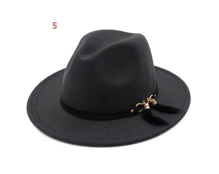 New Fashion Top Cappelli uomo Donne Elegante Moda Solido Soll Fedora Hat Band Ampio piatto Brim Jazz Cappelli eleganti Trilby Panama Caps