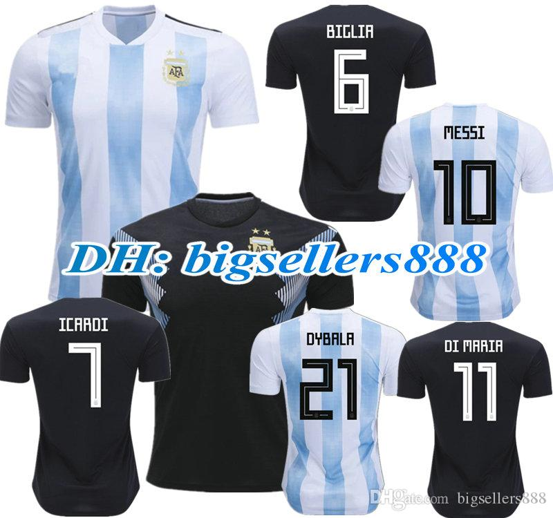 6ad43979 TOP QUALITY 2018 World Cup MESSI DYBALA ICARDI Argentina Home Blue ...