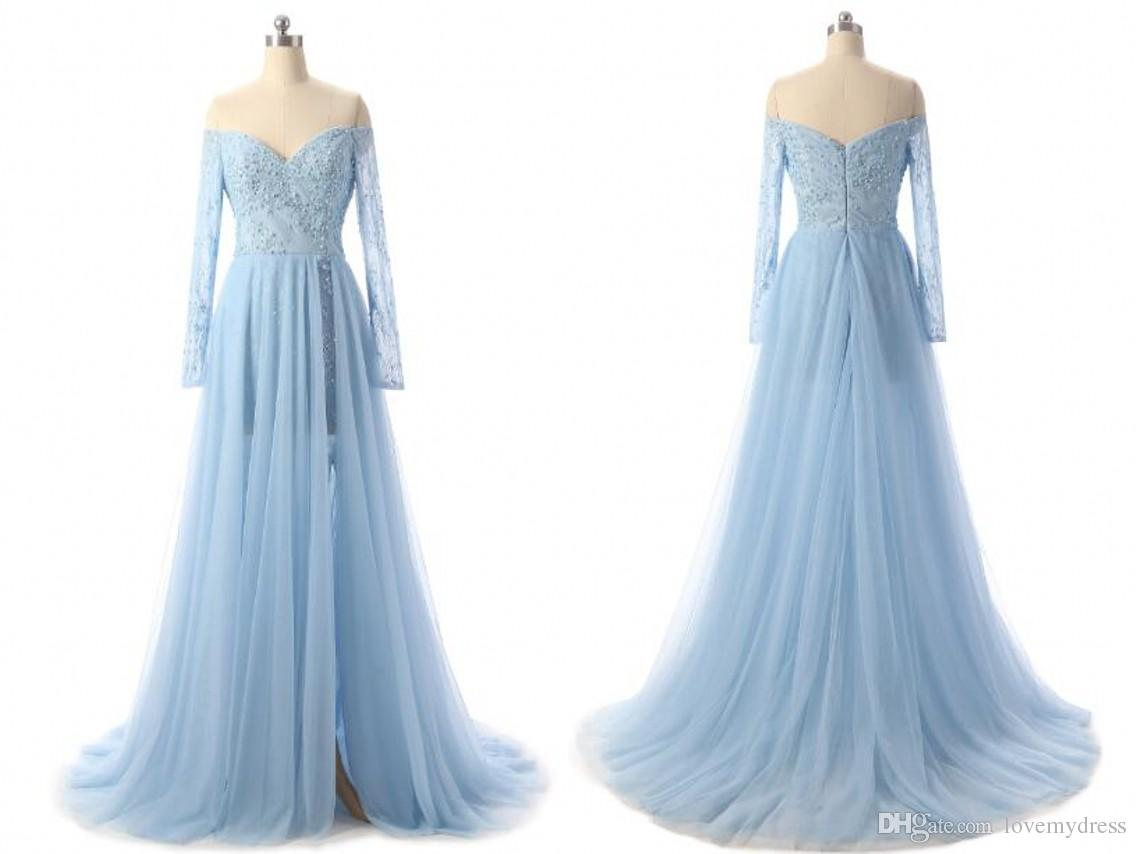 Light Blue High Slit Evening Gowns Cheap Off The Shoulder 2018 With Long  Sleeve Chiffon Lace V Neck Backless Red Carpet Prom Dress Wholesale Evening  Dress ... 385fcc310d45