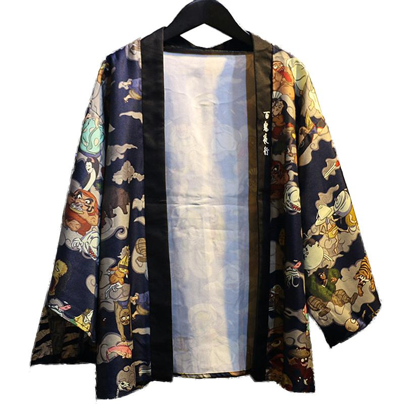 2017 Fashion women kimono Japanese Vintage novelty anime print cardigan kimono blouse shirt tops women clothing outerwear