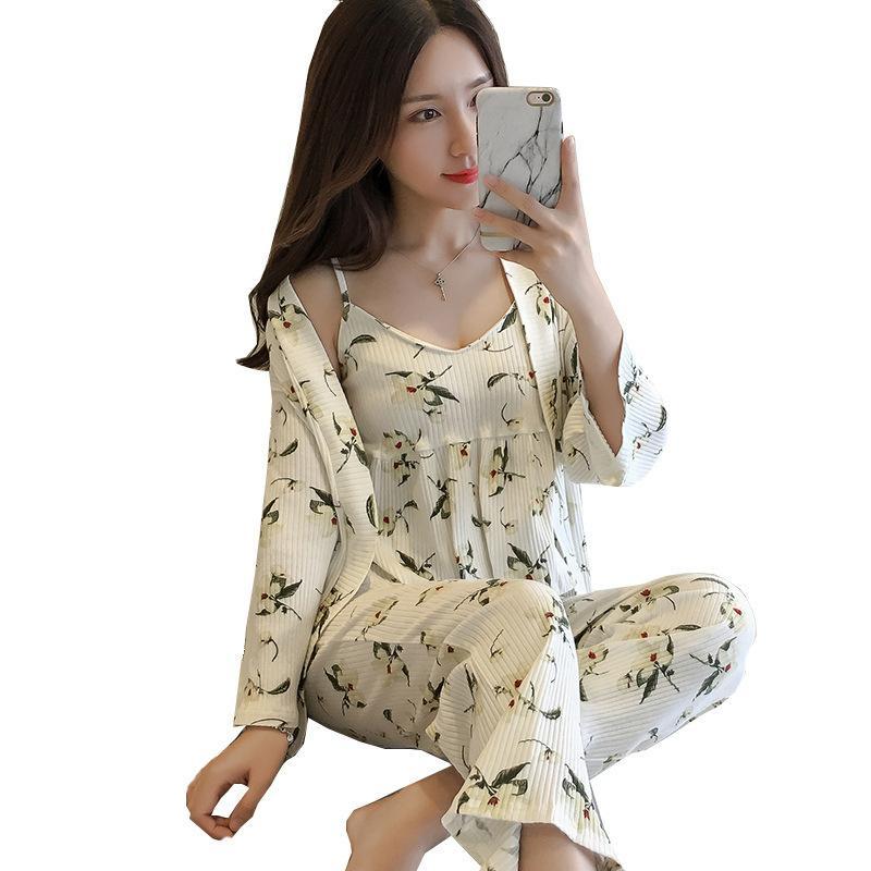 5efd9f235b2d 2019 New White Ladies Sexy Sleepwear Set Cotton Strap Shirt+Pants+Robe Home  Wear Print Floral Sweet Pajamas Pyjamas Negligee From Ilexer