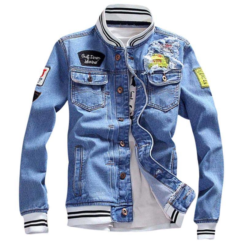 f4b95a244d 2018 New Autumn Demin Jacket Patch Disegni Moda Uomo Inverno Giacca jeans  Uomo Moda Streetwear Jeans