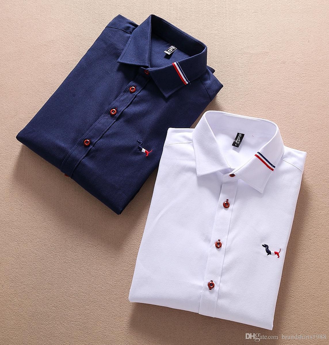 0c51a1a2490b NEW 2018 Thom Brand Luxury Design Slim Fit Male Men s Dress Shirts ...