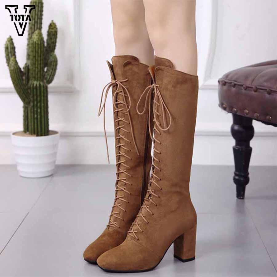 75f5ffba6ed VTOTA Sexy Lace Up Over Knee Boots Wome Thigh High Boots Female Winter Rome  Style Shoes Woman Suede Long Zapatos Mujer Red Boots High Heel Boots From  ...
