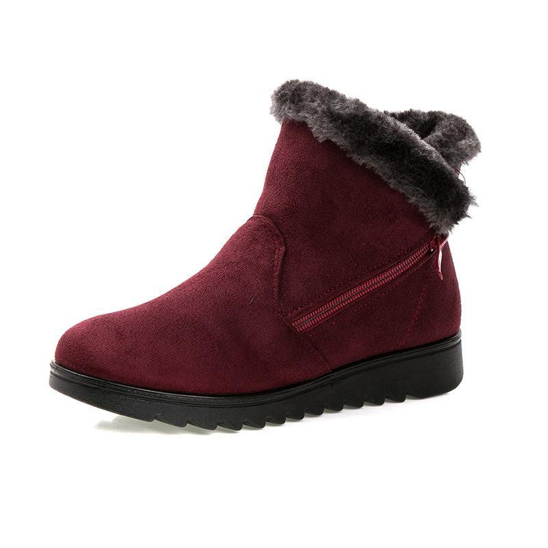 0dedfbe6e70 Compre 2019 Mujeres Cálidas De Piel Corta De Felpa De Invierno Tobillo Botas  Para La Nieve De Las Señoras De Gamuza Con Cremallera Zapatos De Moda  Femenina ...