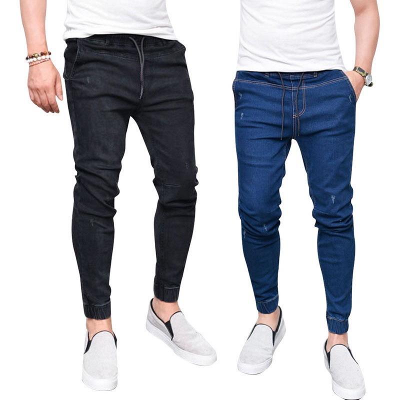 Compre NIBESSER 2018 Harem Jeans Para Hombre Pies Lavados Shinny Denim  Pantalón Negro Hip Hop Ropa Deportiva Joggers De Cintura Elástica Más El  Tamaño 3XL ... be5535da09c5