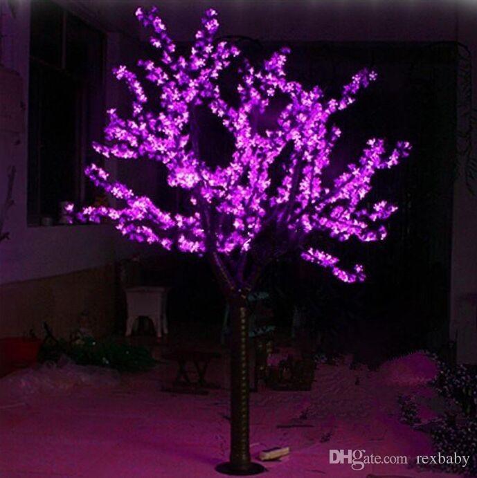 LED Artificielle Arbre de Fleurs de Cerisier Lumière de Noël Lumière LED Ampoules 2m / Hauteur 6.5ft Hauteur 110 / 220VAC Utilisation en plein air à la pluie Livraison gratuite