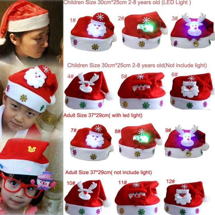 f1244da1dfe7d Cartoon LED Light Christmas Hat Flannelette Fabric Santa Claus ...
