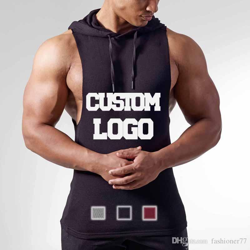 cb965618c09010 80% Cotton Custom Logo Fitness Muscle T Shirt Bodybuilding Stringer Hooded  Vest Men Gym Black Grey Burgundy Red Design Shirt Formal Shirt From  Fashioner77