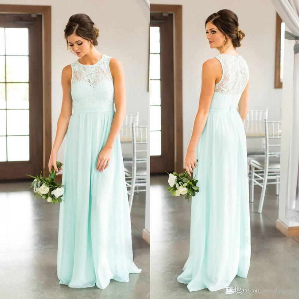 Mint Green Lace Country Bridesmaids Dresses Long Sheer Jewel Neck Chiffon Wedding Guest Dress Floor Length Cheap Maid Of Honor Gowns