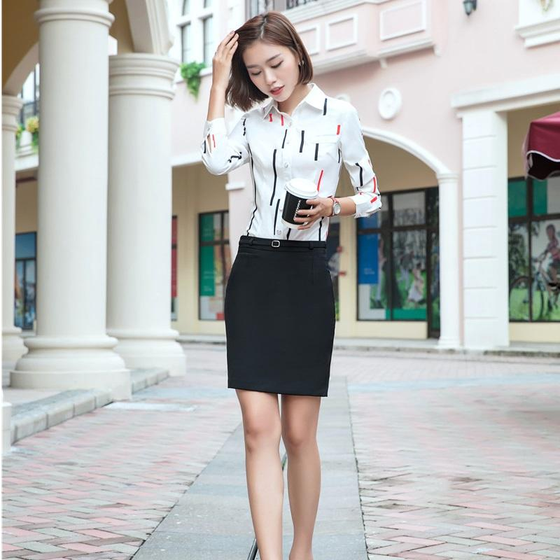 Office Uniform Designs Women Business Suits With 2 Piece Skirt And Blouses Sets Ladies Print Shirts And Tops Elegant