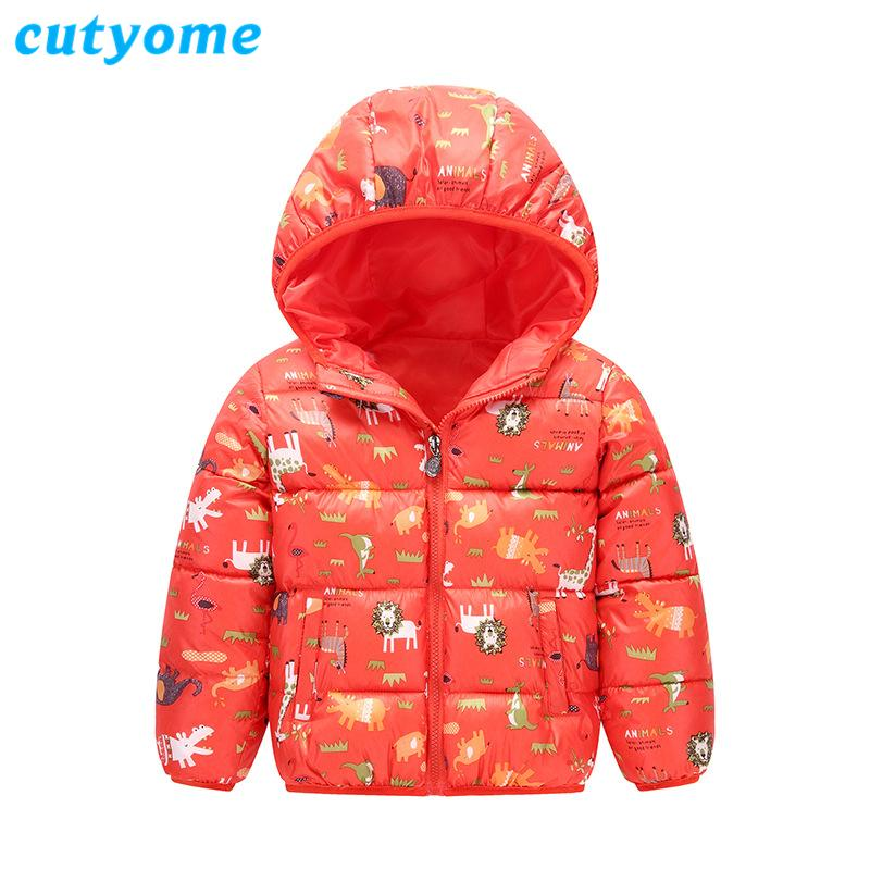 Winter Girls Hoodies Jackets Cutyome Cartoon Dinosaur/Lions Printed Cotton Padded Warm Trench Coats Baby Boys Children Clothing