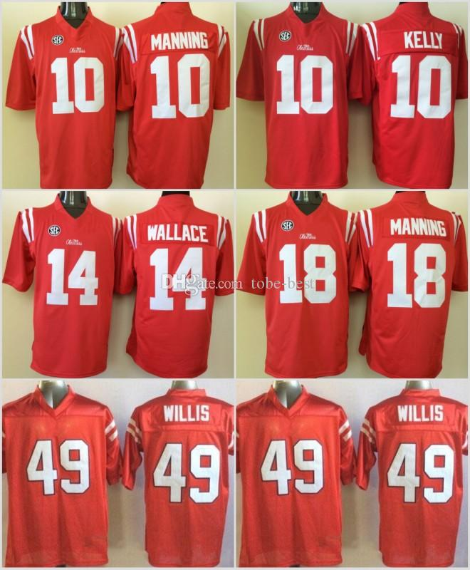 cheaper f6586 59a7f Stitched NCAA Ole Miss Rebels College Barry Sanders Eli Manning 10 Chad  Kelly 10 Patrick Willis 49 Bo Wallace 14 Football Jersey jerseys NEW