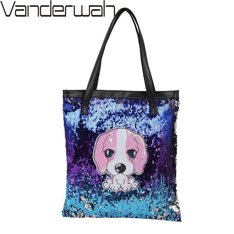 b27d08b5634b WANDERWAH Cute Dog Sequin Bag Women Casual Shopping Tote Bag School Travel  Women Folding Shoulder Leisure Bags Zipper Pouch Sac Handbags On Sale  Leather ...