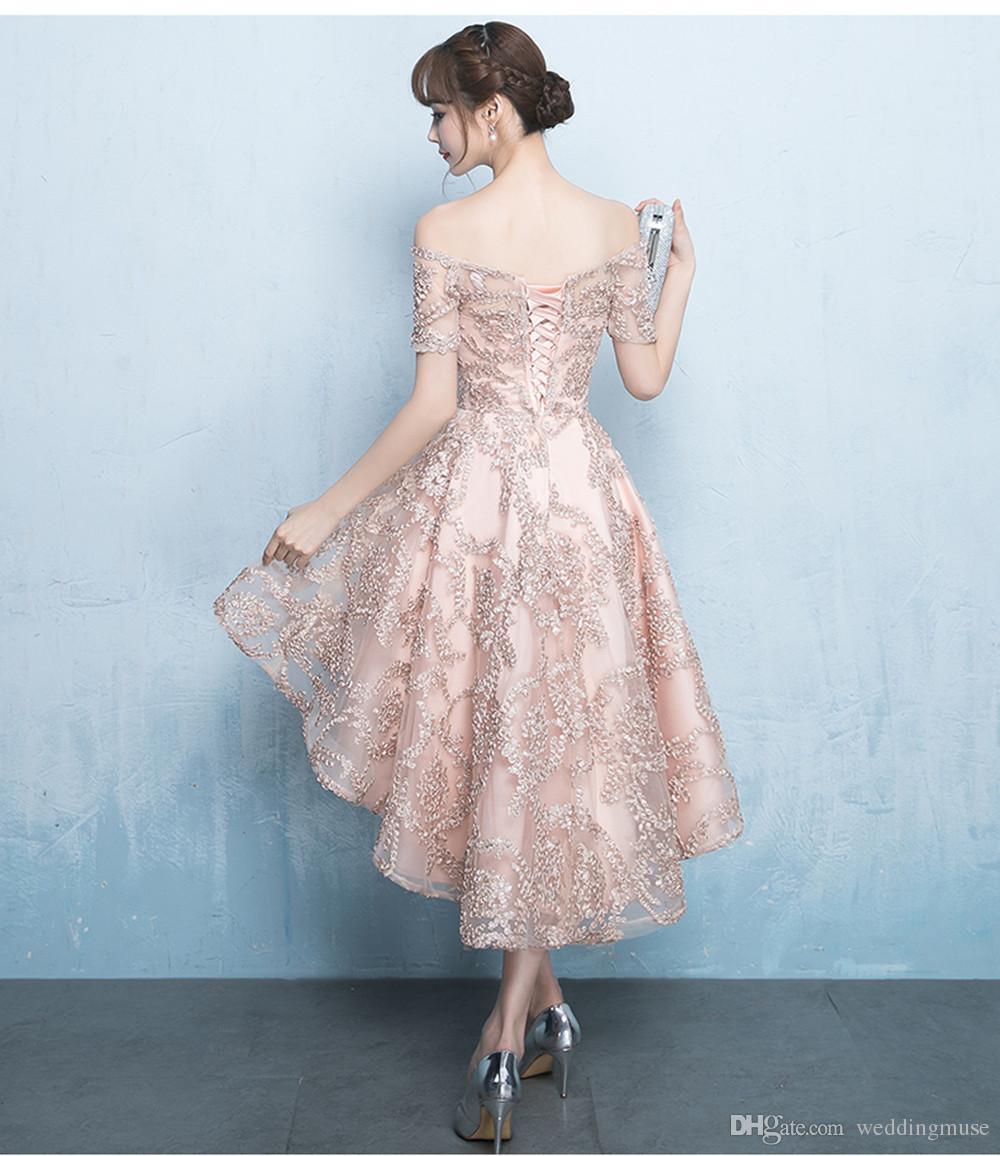 Новый 2019 Платья Вечерняя Одежда Высокая Низкая С Плеча Кружева Розовое Золото Вечернее Платье Пром Платья Для Женщин