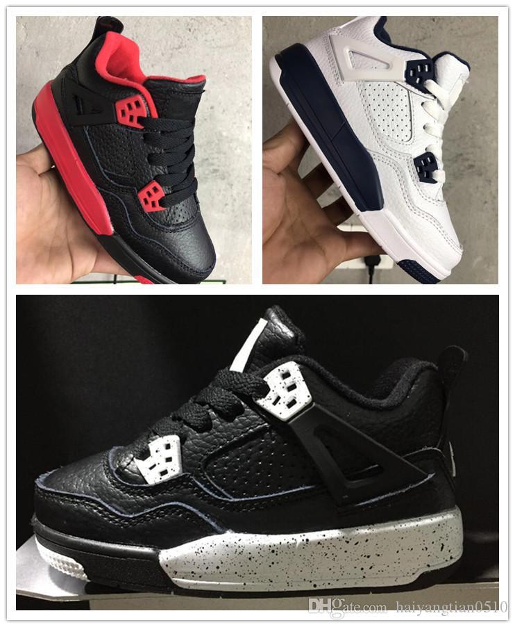 best sneakers 49fa5 009e8 Großhandel Nike Air Jordan Aj4 Baby Kinder Schuhe 4 IV Chirldren Basketball  Schuhe Jungen Mädchen Kind 4s Sport Basketball Turnschuhe Schuhe Jugend ...