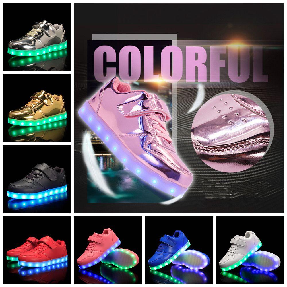 c6b0b9c6a2bea Acheter 8 Couleurs Enfants LED Chaussures Enfants USB Charge Light Up  Chaussures Casual Luminescence Chaussures Coloré Rougeoyant Garçons Filles  Sneakers ...