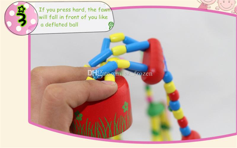 Wooden Rock Giraffe Toy Standing Dancing Hand Doll 18cm Tall Animal Toy Kids Novelty Games Toys Children Originality Gift Free Ship