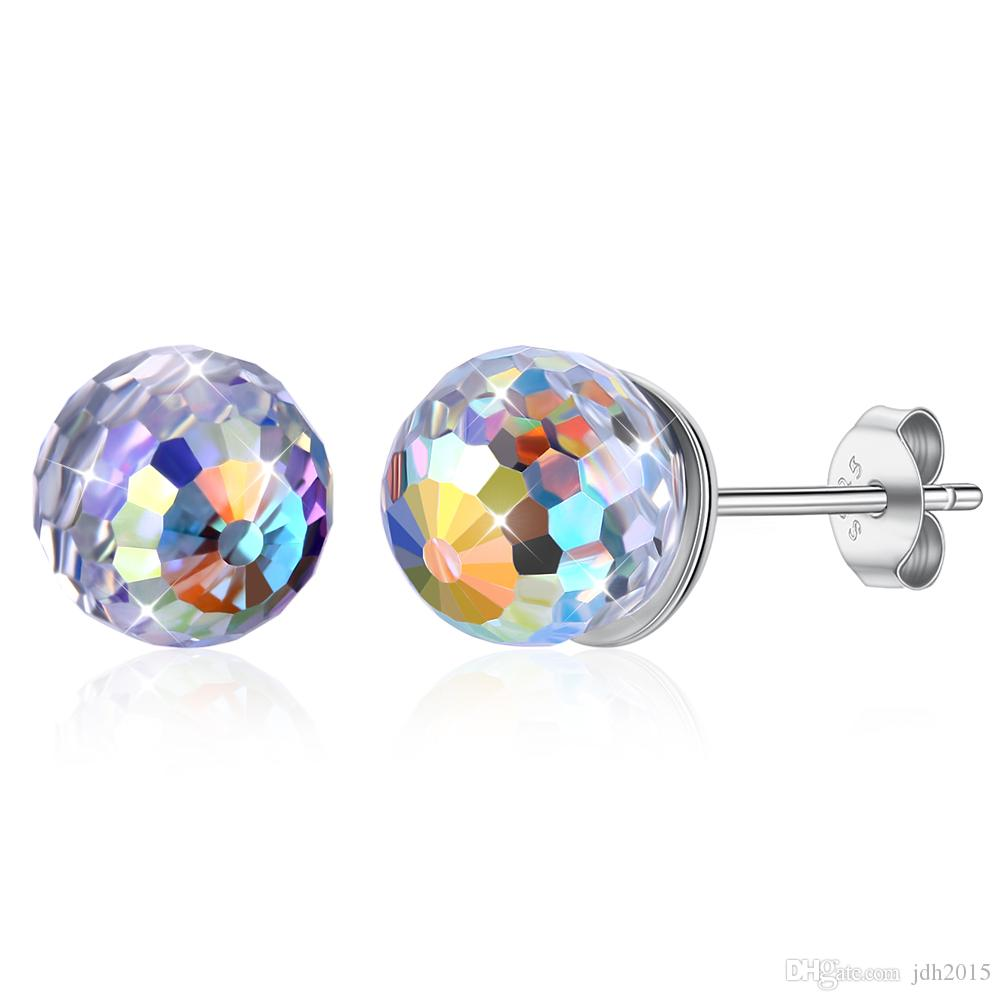 683b9160b 2019 Sterling Silver & Aurora Borealis Faceted 6mm Crystal Ball Stud  Earrings From Jdh2015, $7.04   DHgate.Com