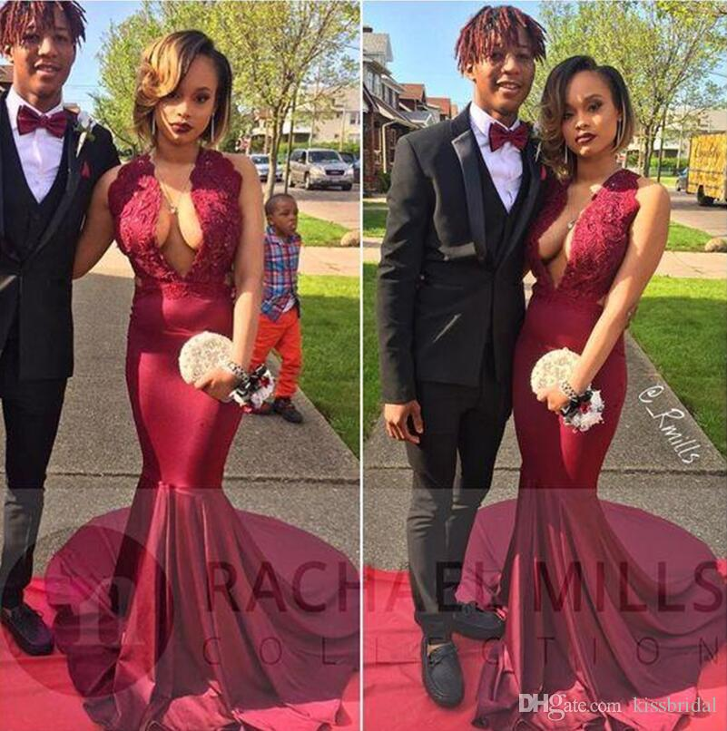 Dark Red Lace Prom Dresses African Mermaid Sexy Key Hole Neck Black Girls 2K 17 Formal Evening Gowns Cheap Party Dress