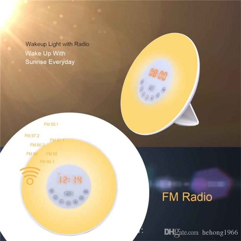 Creative FM Radio Alarm Clock Simulation Sunrise Sunset Natural LED Wake Up Light Touch Sensing Digital Colorful Night Lamp 80yz Y