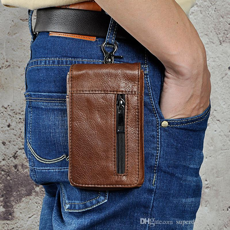new retro Outdoor Tactical Waist Belt Military Sports Genuine Leather Molle zipper Bag Case for iphone cellphone cigarettes