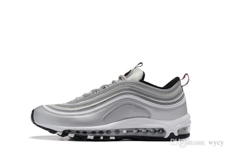 Nike air max 97 airmax 97 Vente chaude Nouveaux Hommes Chaussures de Course Coussin 97 En Plastique Pas Cher Chaussures De Formation De Mode En Gros En Plein Air Espadrilles