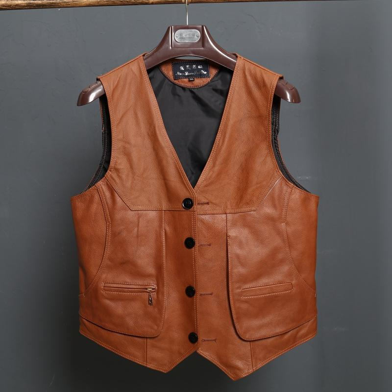 New Arrival Leather Motorcycle Vest Biker Vests Mens Slim Fit Real Brown Cow Genuine Leather Waistcoat Size L-8XL