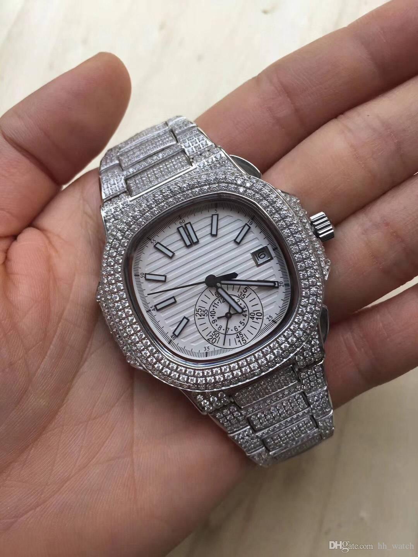 c1812fcc5d9 Compre Venda Quente Mais Recente AAA Alta Qualidade Relógio Dos Homens  Movimento Mecânico Automático 40mm Dupla Safira Espelho Brilho Relógio De  Diamantes ...