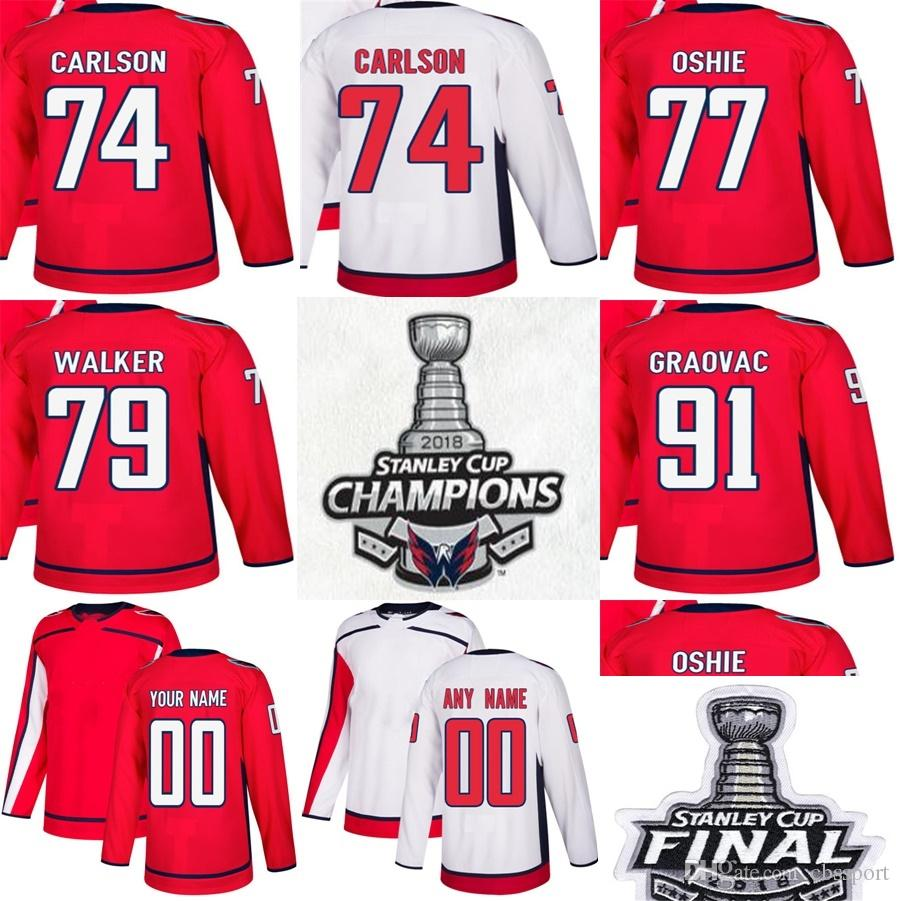 2019 2018 Stanley Cup Final Champions Washington Capitals 74 John Carlson 77  T.J. Oshie 79 Nathan Walker 91 Tyler Graovac Red White Hockey Jersey From  ... 6c5f86c14