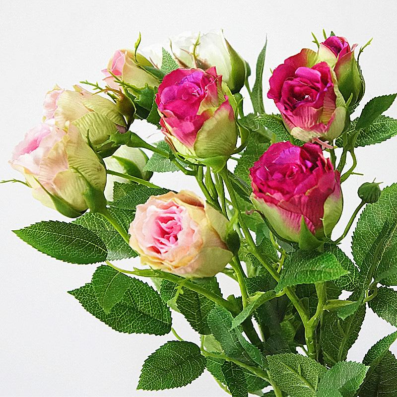5Pcs French 4Heads decorate Artificial rose branch silk flores fake flowers for home wedding decoration Valentine gift roses C18111501