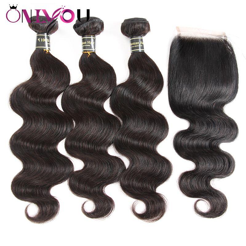 البرازيلي العذراء شعر الجسم موجة 3 حزم مع إغلاق 4x4 الدانتيل أو 13x4 أمامي الأذن إلى اللحمات شعرة الإنسان غير المجهزة الشعر مع إغلاق