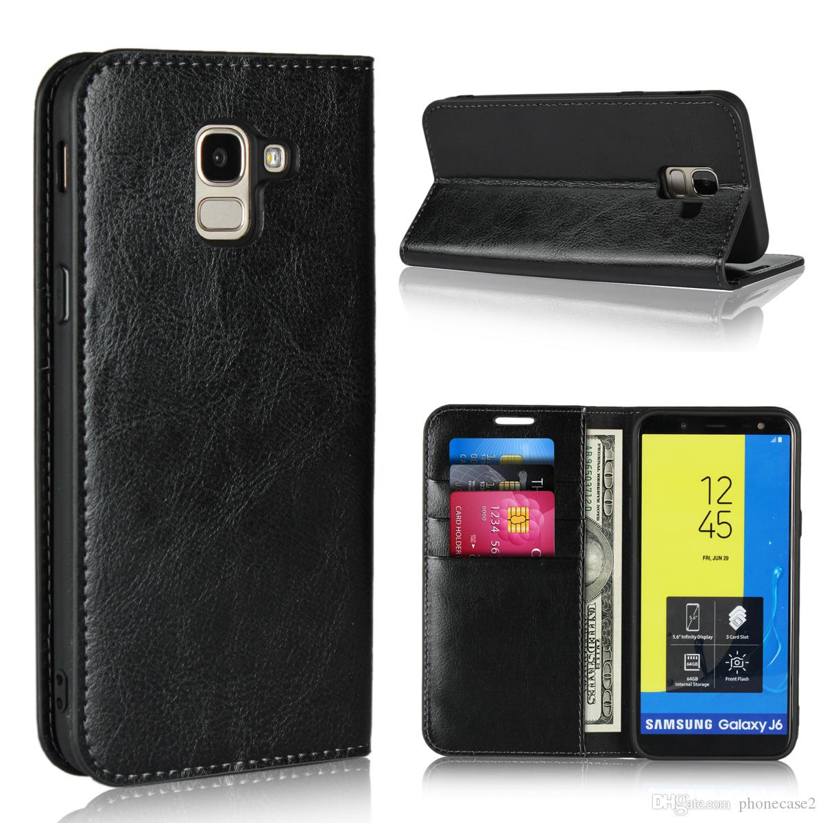 ab7f0c9ec08 DNGN For Samsung Galaxy J6 Case Flip Wallet Handmade Genuine Leather Cover  For Samsung Galaxy J6 2018 Design Cell Phone Case Heavy Duty Cell Phone  Cases ...