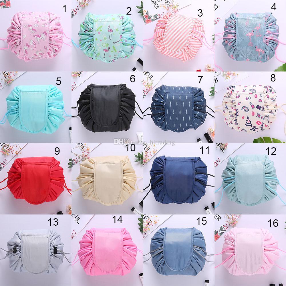 Vely preguiçoso saco de cosmética Flamingo Unicorn cordão de impressão bolsa de maquiagem meninas grandes bolsas de viagem portátil Cosmetic Pouch 16 estilos C4053