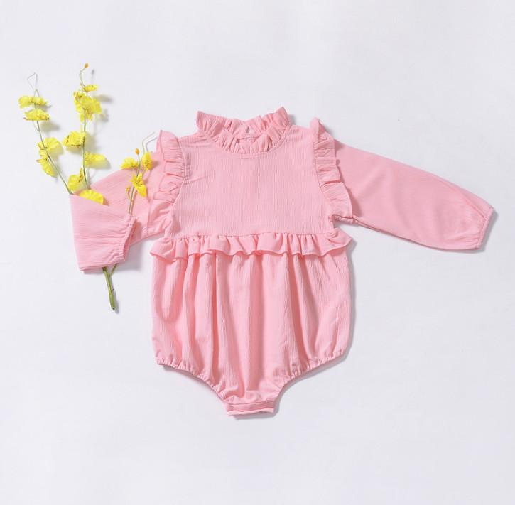 1de0e0e72d Baby Romper Infant Girls Ruffle Collar Long Sleeve Romper Toddler Kids  Triangle Climb Clothing Baby Girl Jumpsuits Pink Green Brown F2186 Baby Kids  Romper ...