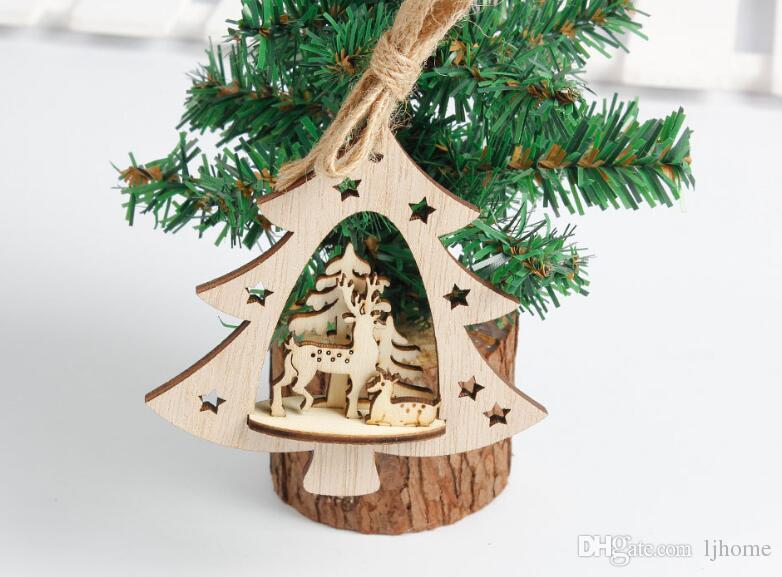 New Snowflake Wooden Embellishments Rustic Merry Christmas Tree