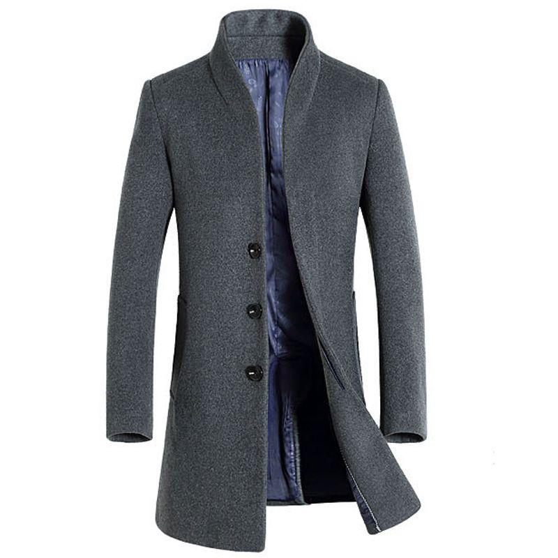 Cashmere Coat Men 2017 Winter New Long Wool Blends Coat Slim Fit Mens Pea Coat Jacket Casual Manteau Homme Fashion Overcoat