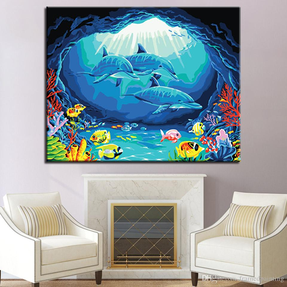 Underwater World Dolphin Painting By Numbers DIY Digital Oil Pictures On Canvas Home Decor Wall Art Abstract Hand Paint Coloring